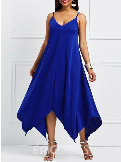 Ericdress Blue V-Neck Twilled Satin Geometric Maxi Dress