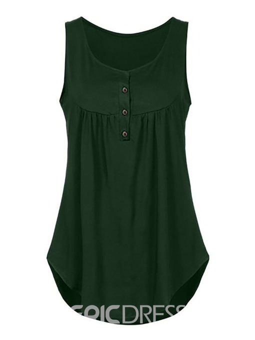 Ericdress Plain Hem Button Mid-Length Womens Vest
