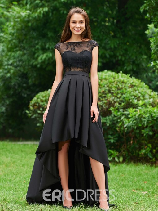 Ericdress A Line Cap Sleeve Lace High Low Prom Dress