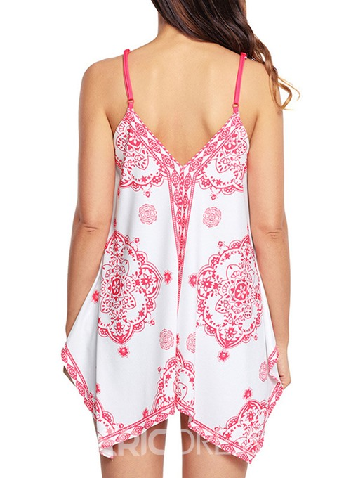 Ericdress Spaghetti Straps Print Loose Womens Vest