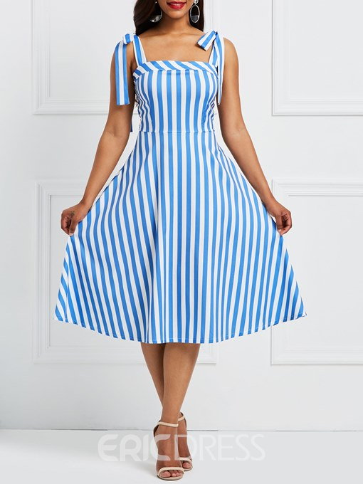 Ericdress Backless Lace-Up Bowknot A-Line Dress