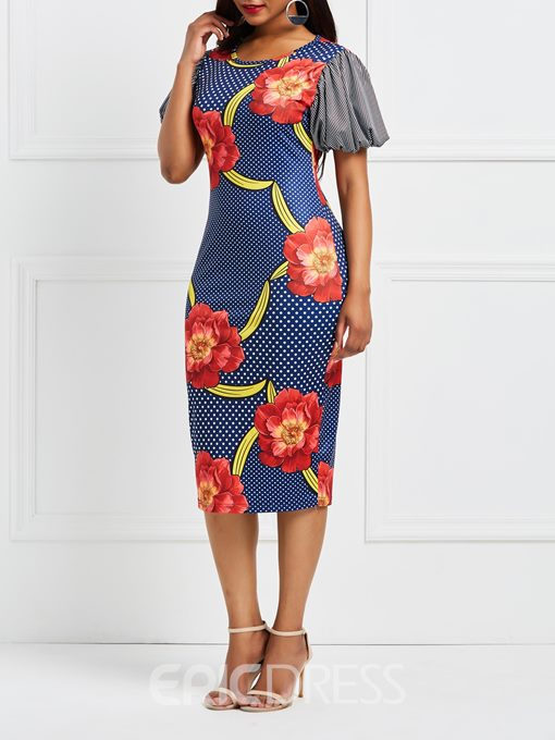 Ericdress Floral Lantern Sleeve Patchwork Bodycon Dress