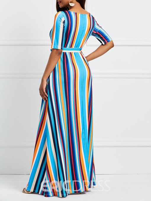 Ericdress Stripe Half Sleeves Pullover Maxi Dress
