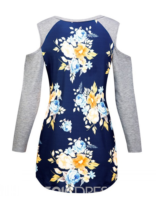 Ericdress Cold Shoulder Floral Print Womens T Shirt