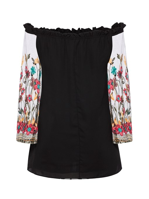 Ericdress Flare Sleeve Off Shoulder Embroidery A-Line Dress