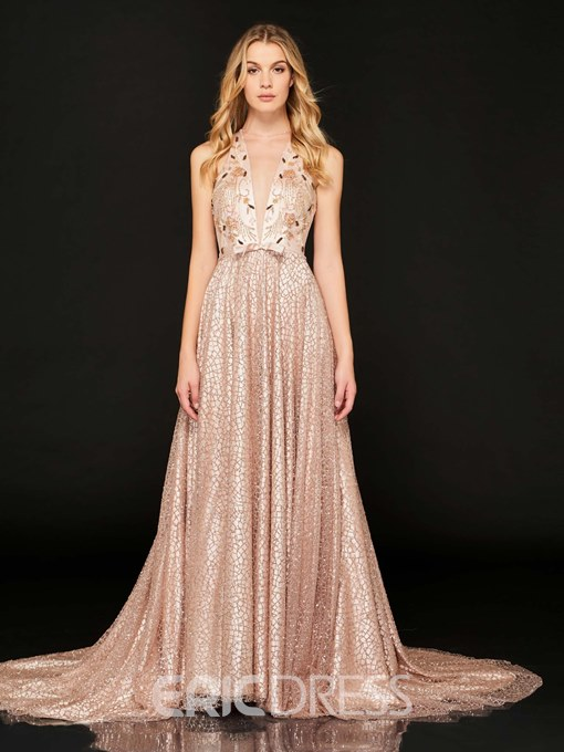 Ericdress A Line Beaded Lace Evening Dress