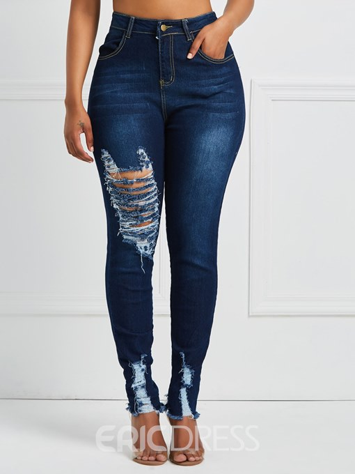 Ericdress Skinny Ripped Women's Jeans