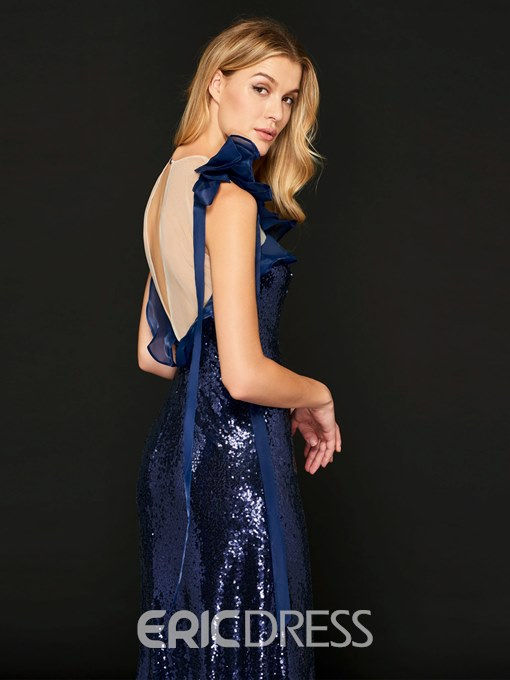 Ericdress Sheath Scoop Neck Sequin Reflective Evening Dress