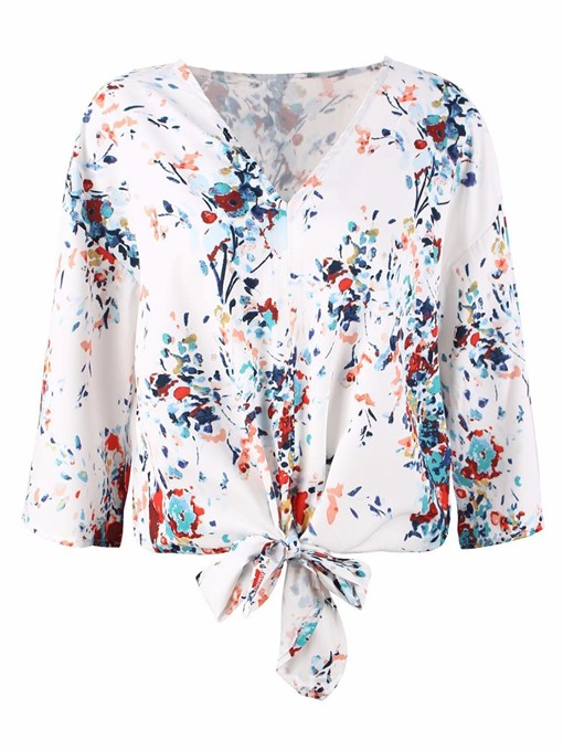 Ericdress Tie Front Notch-V Print Loose Long Sleeve Womens Top