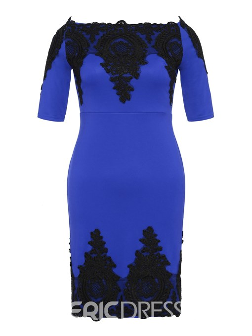 Ericdress Floral Backless Patchwork Lace Bodycon Dress