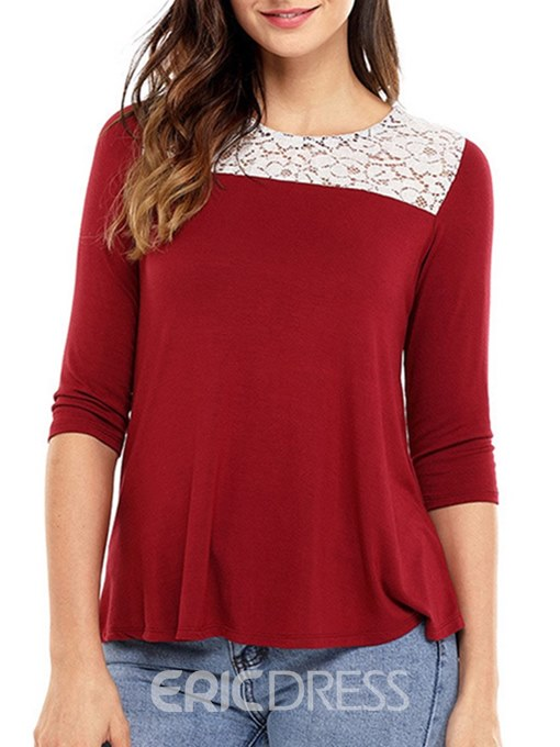 Ericdress Lace Patchwork Tunic Long Sleeve Womens T Shirt