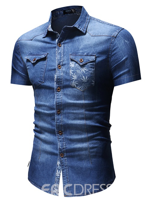 Ericdress Plain Slim Fitted Short Sleeve Mens Casual Shirts