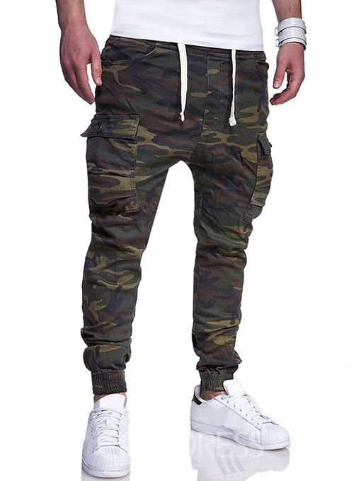 Ericdress Camouflage Side Pocket Lace Up Mens Casual Cargo Pants