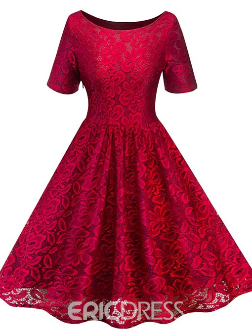 Ericdress Trumpet Pullover Western Ladylike Lace A-Line Dress