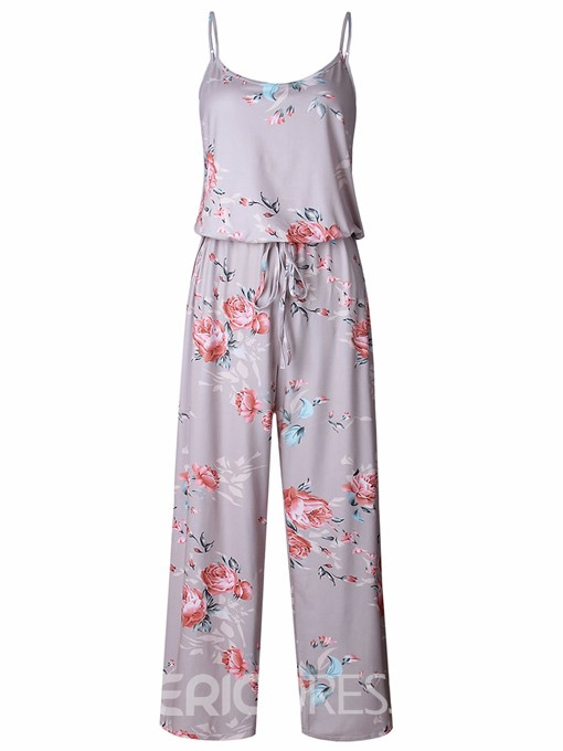 Ericdress Floral Lace-Up Spaghetti Straps Women's Jumpsuit