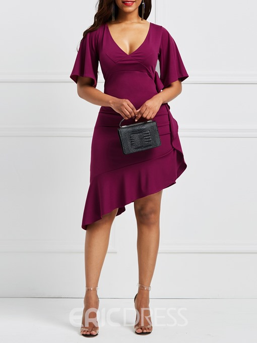 Ericdress Asymmetric V-Neck Ruffles Women's Dress