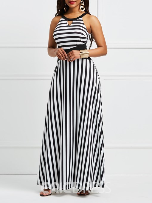 Ericdress Hollow Patchwork Stripe Pullover Casual Dress