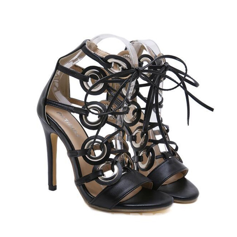 Ericdress Plain Lace-Up High-Cut Upper Stiletto Sandals