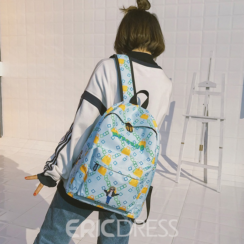 Ericdress Geometric Pattern Zipper Soft Backpack