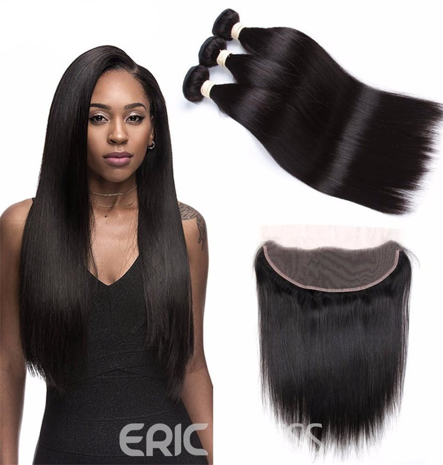 Ericdress 100% Brazilian Human Hair Extensions Straight Virgin Hair Bundles +Lace Frontal