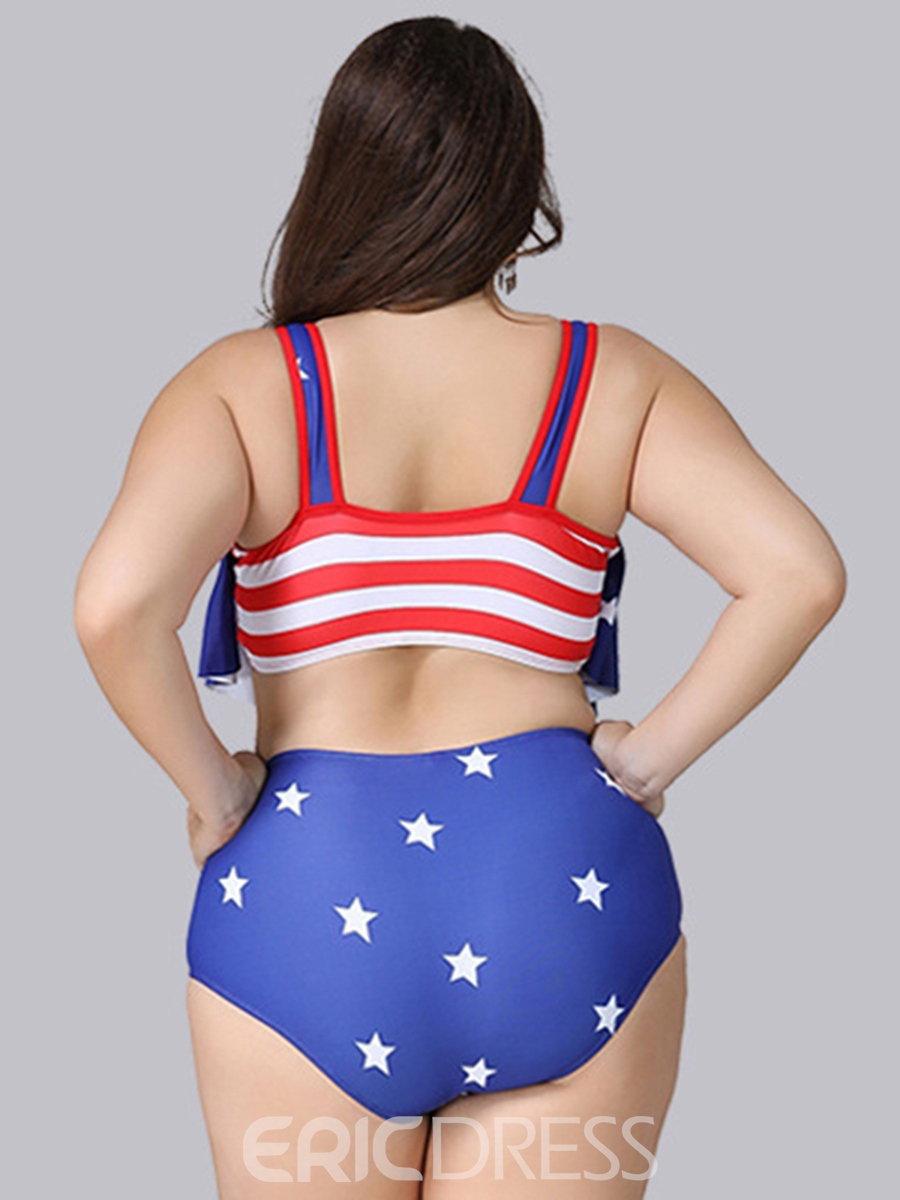 Ericdress Wave Cut Hollow Star Plus Size Bikini Set