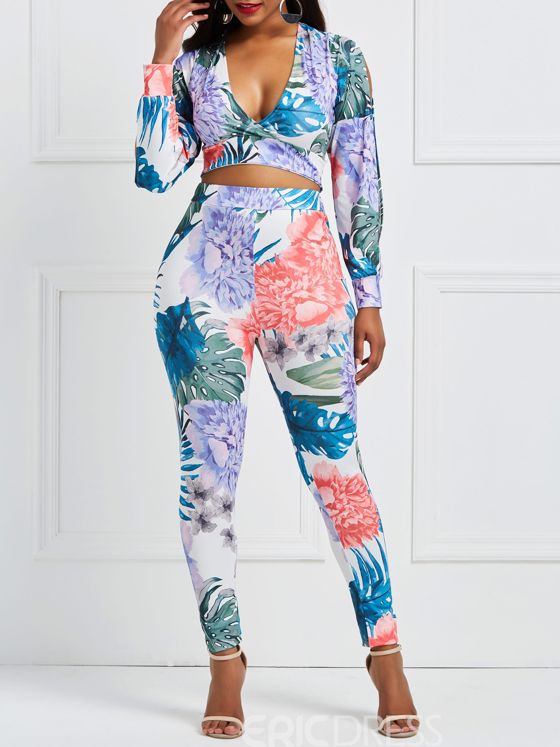 Ericdress Floral Print V Neck Tops and Pants Women's Two Piece Set
