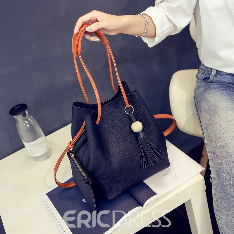 Ericdress Plain Patchwork Korean Barrel-Shaped Tote Bags