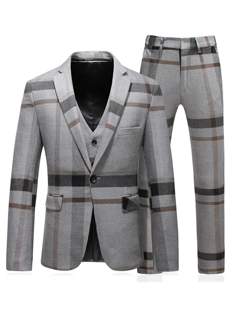 Ericdress Color Block Stripe Mens 3 Piece Casual Party Suits