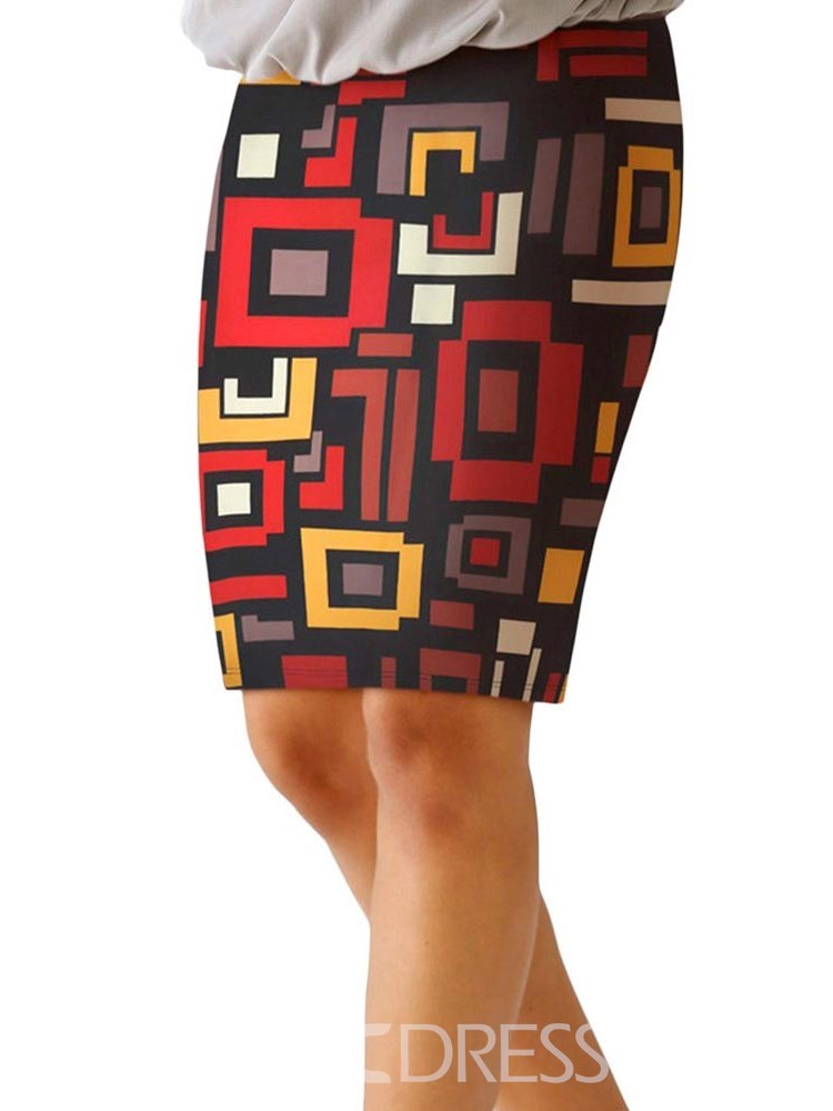 Ericdress Bodycon Knee-Length Color Block Women's Skirt
