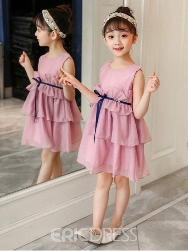 Ericdress Plain Bowknot Zipper Girl's Sleeveless Dress