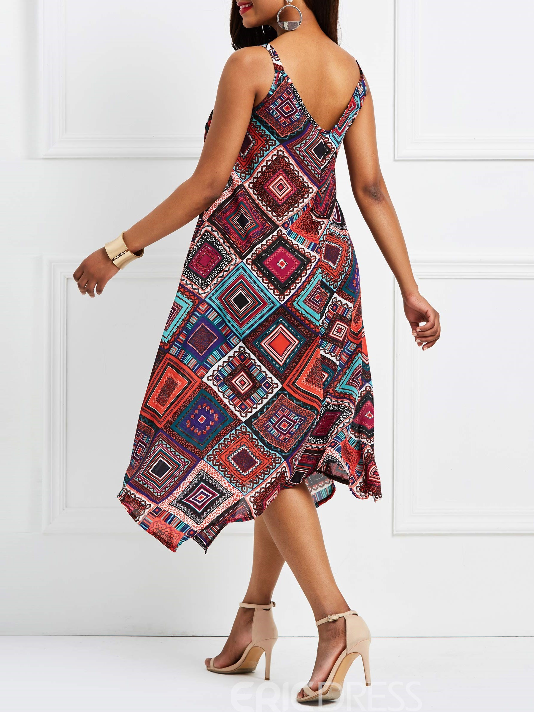 Ericdress African Fashion Spaghetti Strap Geometric Print Women's Dress