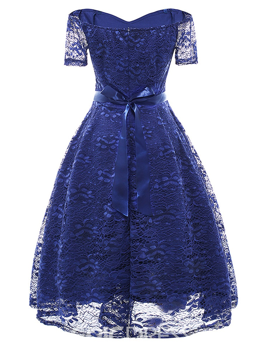 Ericdress Trumpet Pleated Hollow Lace A-Line Dress
