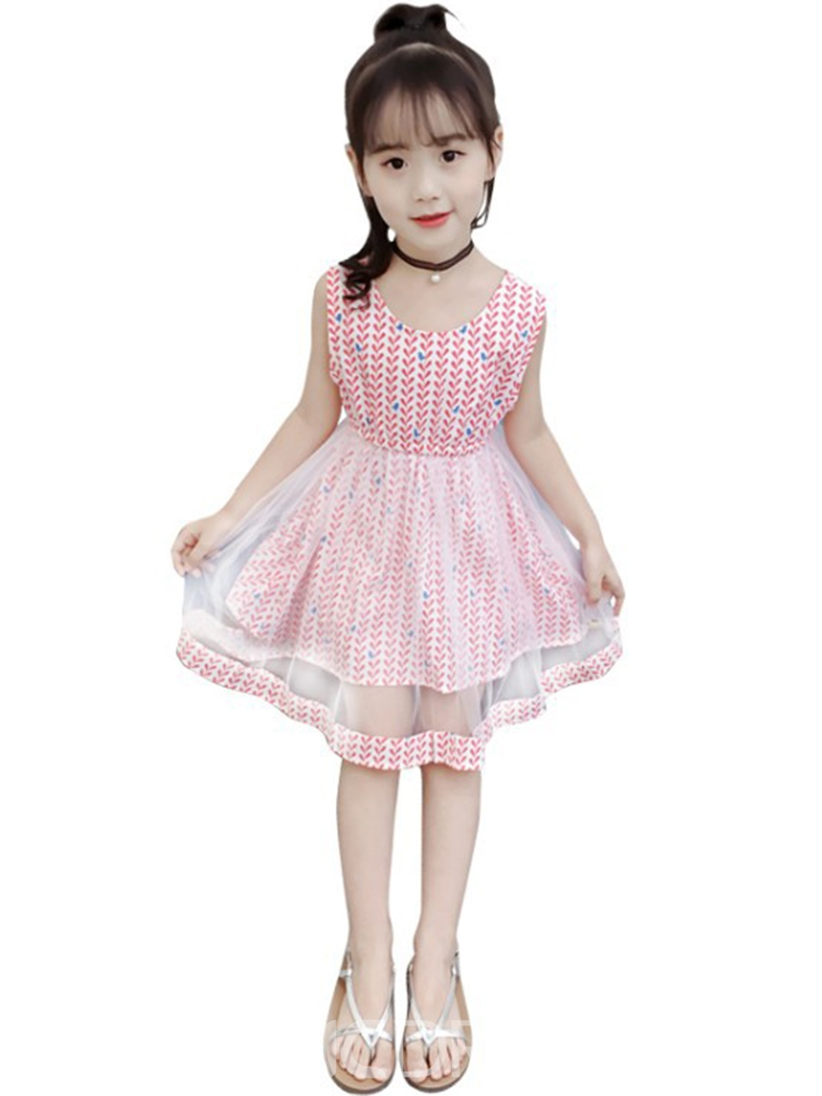 Ericdress Mesh Printed Patchwork A-Line Girl's Sleeveless Dress