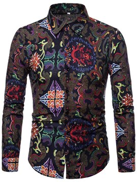 Ericdress Geometric Floral Slim Print Mens Casual Shirts