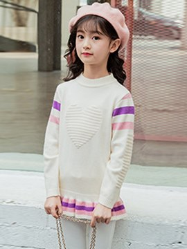 suéteres casuales ericdress patchwork cartoon mid-length girl