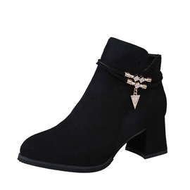Ericdress Rhinestone Round Toe Chunky Heel Women's Ankle Boots