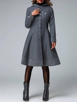 Ericdress Button-Down Mid-Length Plain Long Sleeves Trench Coat
