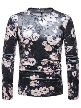Ericdress Floral Print Long Sleeve Scoop Mens Casual T Shirts