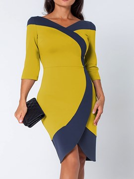 Ericdress Slash Neck Color Block Bodycon Women's Dress