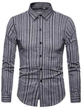 Ericdress Vertical Striped Slim Lapel Mens Casual Shirts