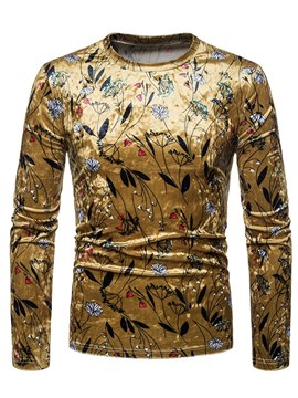 Ericdress Floral Print Golden Scoop Mens Long Sleeve T Shirts