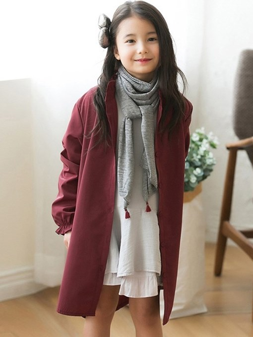 Ericdress Asymmtric Plain Stand Collar Girl's Casual Trench Coat