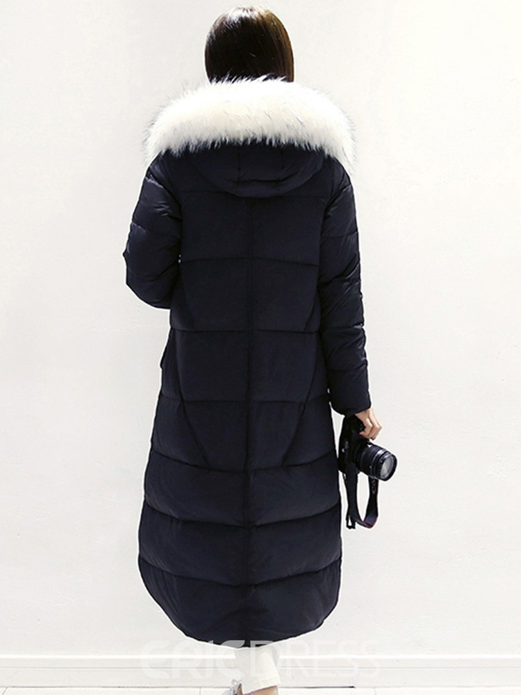 Ericdress Straight Zipper Thick Long Cotton Padded Jacket