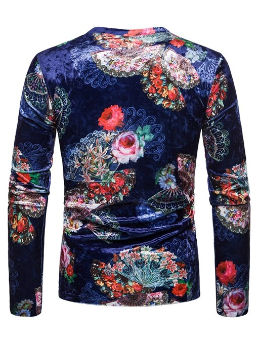 Ericdress Floral Print Dark Blue Mens Long Sleeve Casual T Shirts