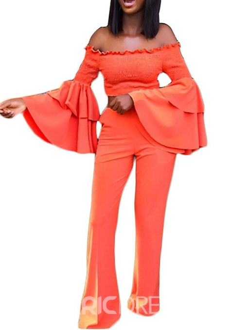 Ericdress Off-Shoulder Flare Sleeve T-Shirt and Pants Women's Two Piece Set