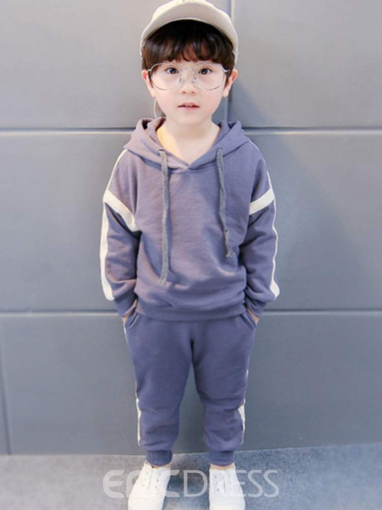 Ericdress Side Striped Hoodies & Pants Boy's Casual Outfits