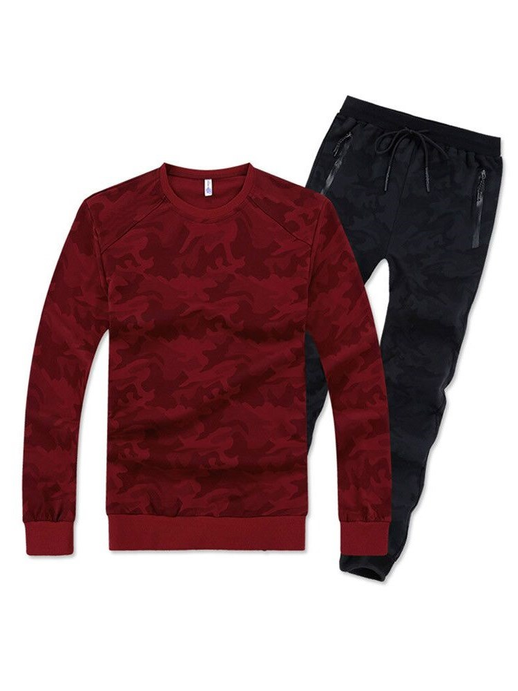 Ericdress Printed Long Sleeve T Shirts & Pants Mens Casual Sports Shirts