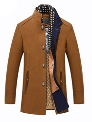 Ericdress Plain Stand Collar Patchwork Thick Mens Winter Wool Coat фото