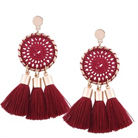 Ericdress Red Tassels Fashion Earrings