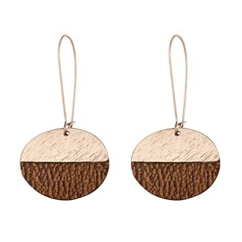 Ericdress Double Color Leather Earrings